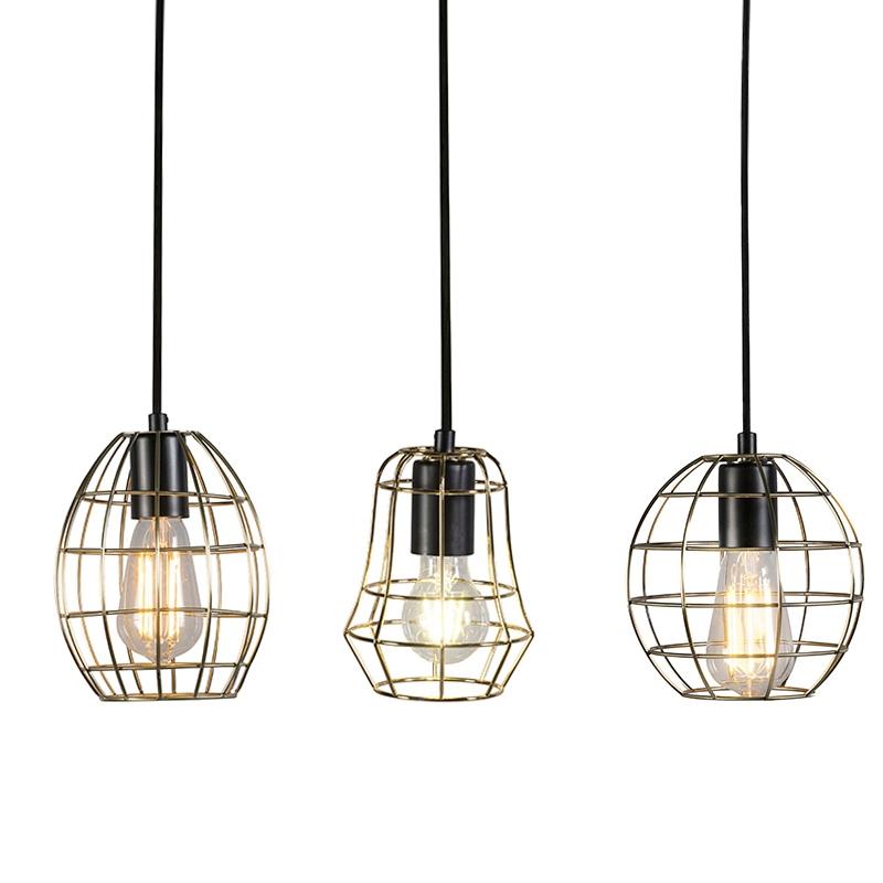 Set de 3 lámparas colgantes LICOR Luxe B bronce