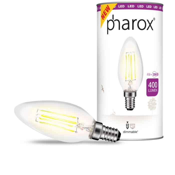 Bombilla-Pharox-LED-filamento-vela-transparente-400lm