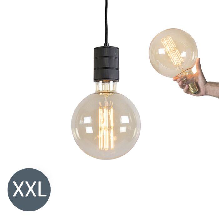 Lámpara-colgante-MEGAGLOBE-negra-con-bombilla-LED-regulable