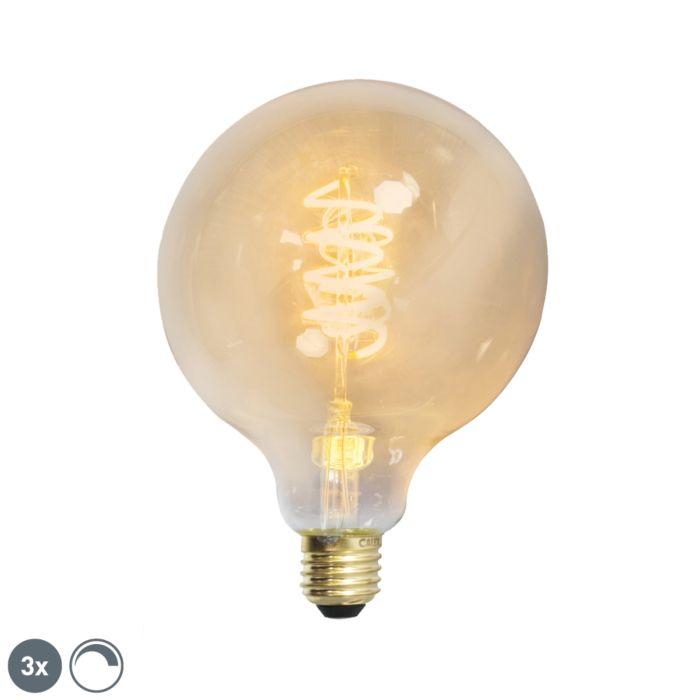 Set-3-bombillas-E27-LED-regulable-filamento-retorcido-G125-GOLDLINE