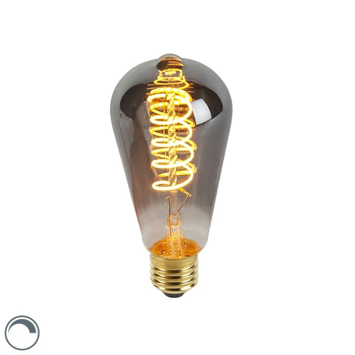 Bombilla-E27-filamento-espiral-LED-regulable-ahumado-ST64-100lm-2100K