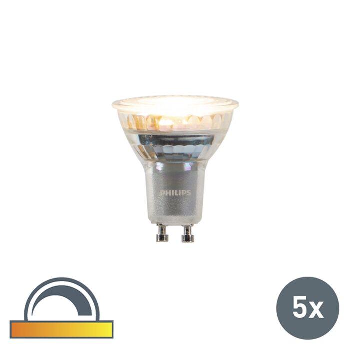 Set-5-bombillas-LED-GU10-Philips-3.7-W-260lm-2200-2700K