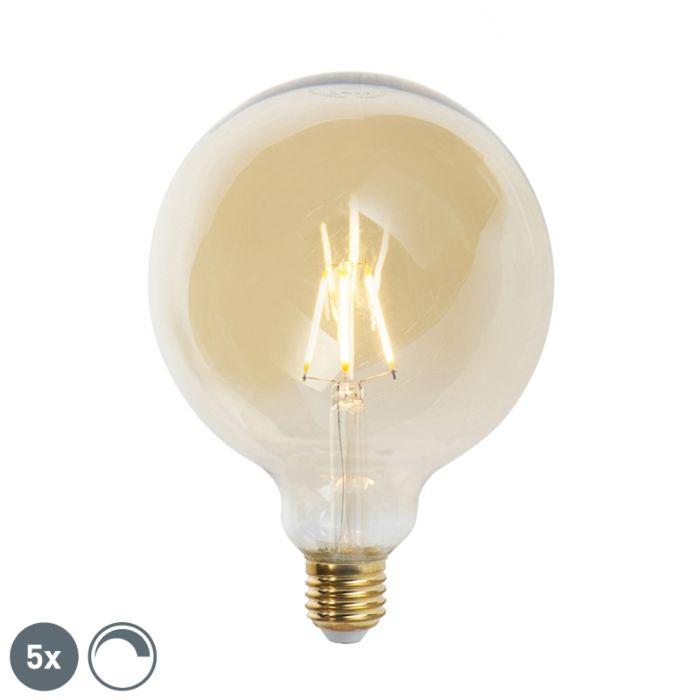 Set-5-bombillas-filamento-LED-regulables-E27-G125-GOLDLINE-2200K