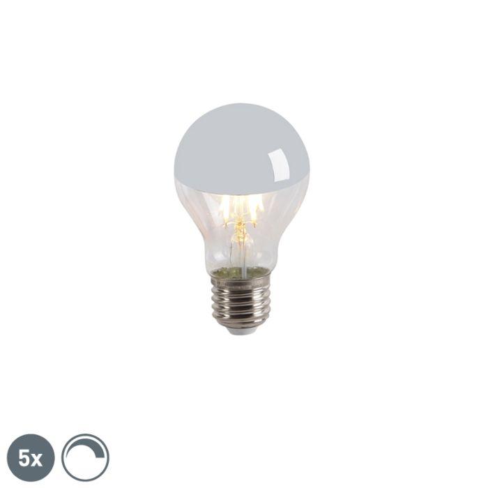 Set-5-bombillas-LED-filamento-cúpula-espejo-E27-240V-4W-300lm-A60-regulable