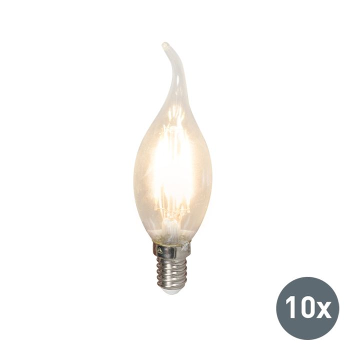 Set-de-10-bombillas-de-vela-LED-filamento-E14-240V-3,5W-350lm-BXS35-regulable