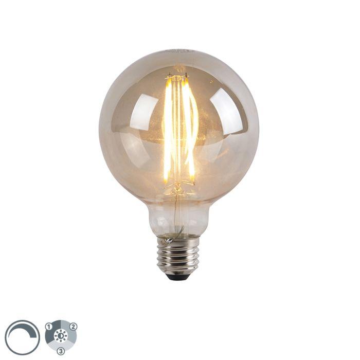 Bombilla-E27-LED-regulable-3-niveles-G95-cristal-ahumado-5W-450lm-2200K