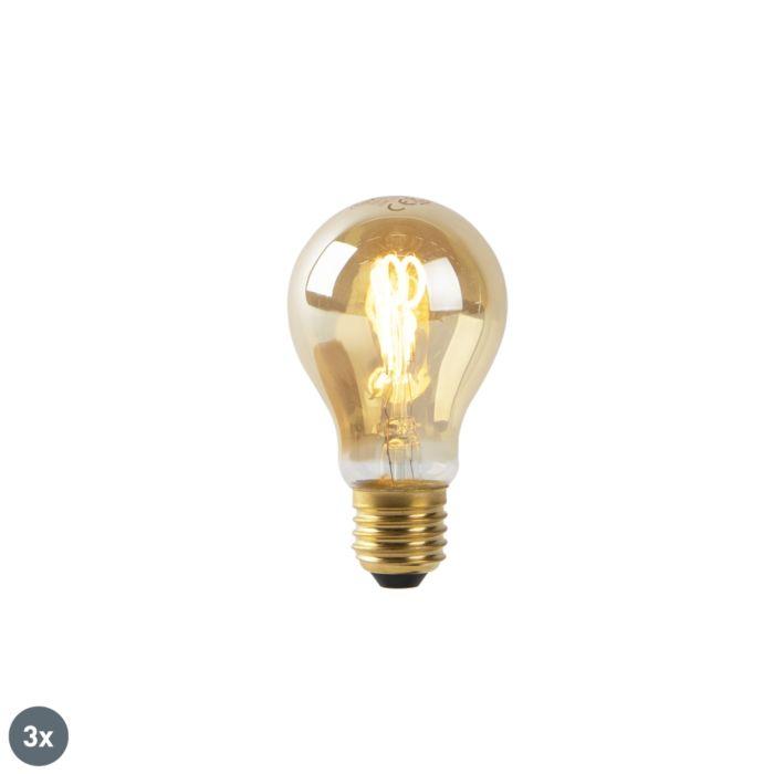 Set-3-bombillas-E27-filamento-espiral-dorado-LED-A60-2W-90-lm-2200K