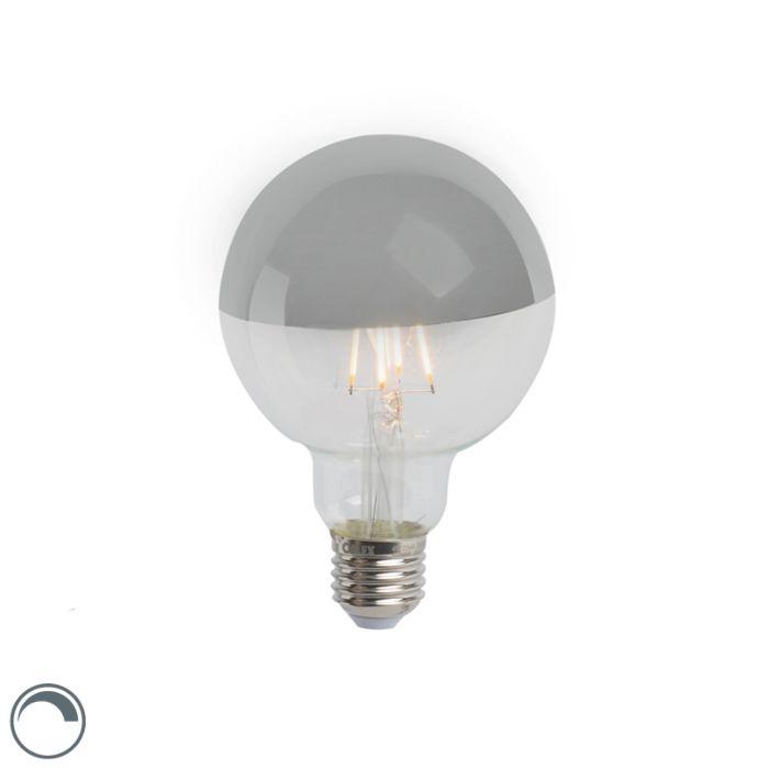 Bombilla-E27-LED-filamento-cúpula-espejo-plata-regulable-G95-280lm-2300K