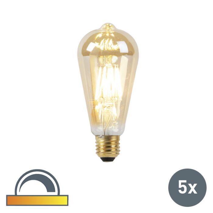 Set-de-5-bombillas-LED-E27-8W-2000-2600K-filamento-GOLDLINE