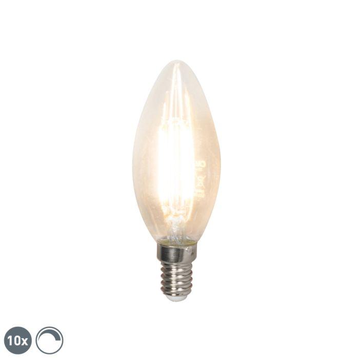 Set-10-bombillas-vela-LED-filamento-E14-240V-3.5W-350lm-B35-regulable