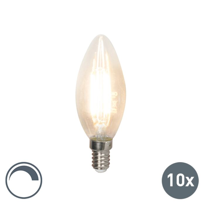 Set-10-bombillas-vela-LED-filamento-E14-240V-3.5W-350lm-B35-regulable