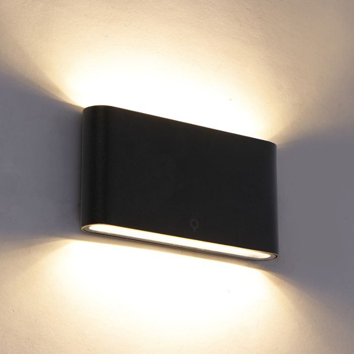 Aplique-moderno-negro-17,5cm-LED-IP65---BATT