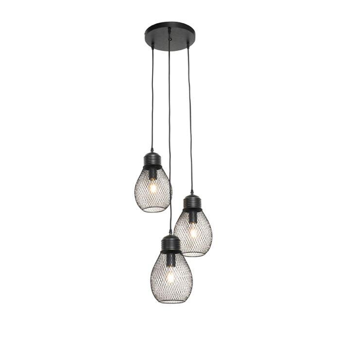 Lámpara-colgante-diseño-negra-3-luces---RAGA