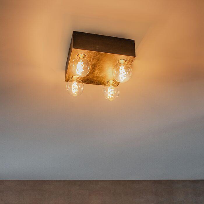 Lámpara-de-techo-rústica-madera-negra-4-luces---BLOC