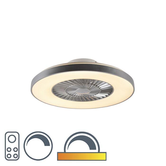 Ventilador-de-techo-plateado-efecto-estrella-LED-regulable---CLIMO