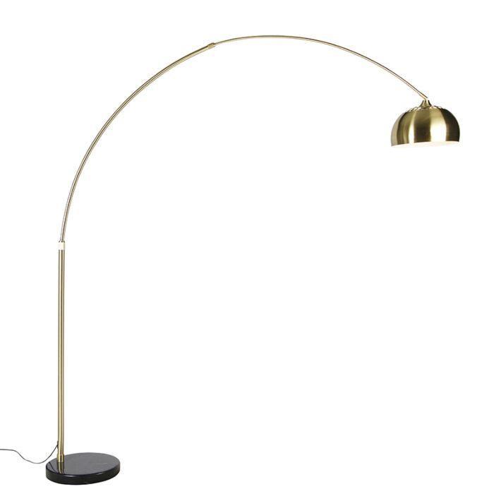 Lámpara-de-arco-latón-base-mármol-negro-ajustable---XXL