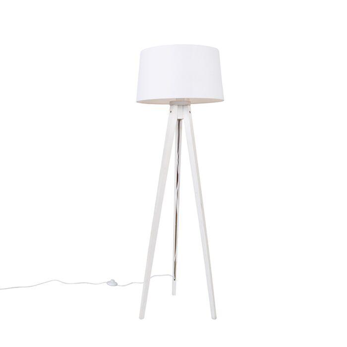 Lámpara-de-pie-moderna-trípode-blanco-pantalla-lino-blanco-45cm--TRIPOD-CLASSIC