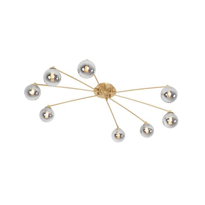 Lámpara-de-techo-moderna-dorada-cristal-ahumado-8-luces---ATHENS