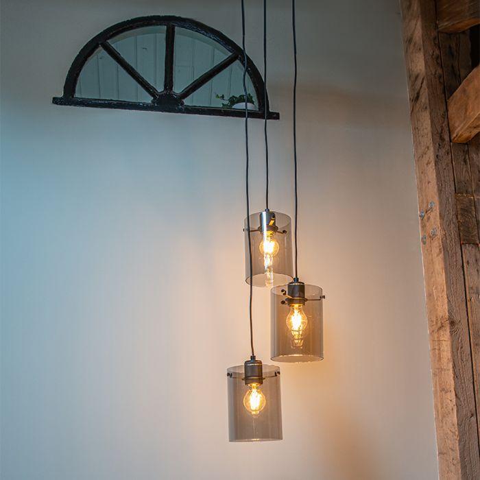 Lámpara-colgante-diseño-negra-cristal-ahumado-3-luces---DOME