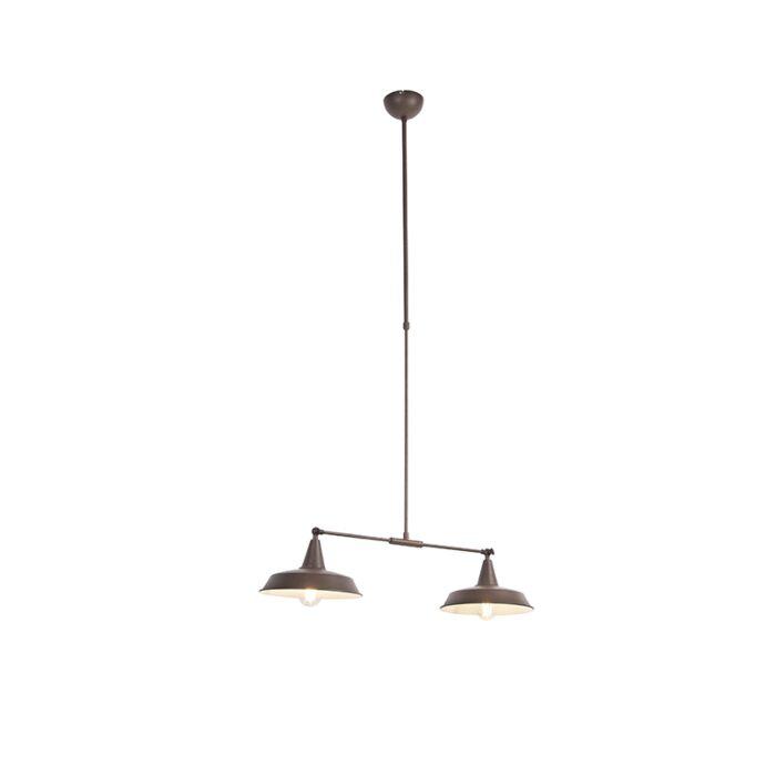 Lámpara-colgante-industrial-óxido-altura-ajustable-2-luces---VICI