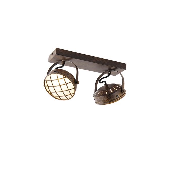 Plafón-vintage-marrón-óxido-2-luces---TAMINA
