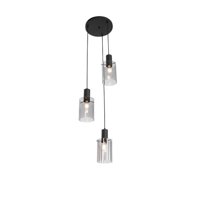 Lámpara-colgante-moderna-negra-cristal-ahumado-3-luces---VIDRA