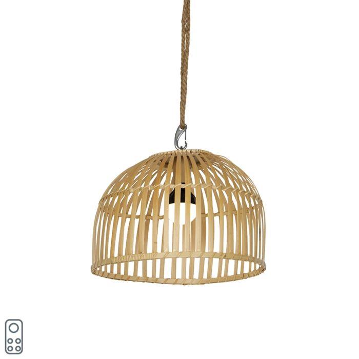 Lámpara-colgante-exterior-bambú-IP44-regulador-LED-RGB---MAURICE