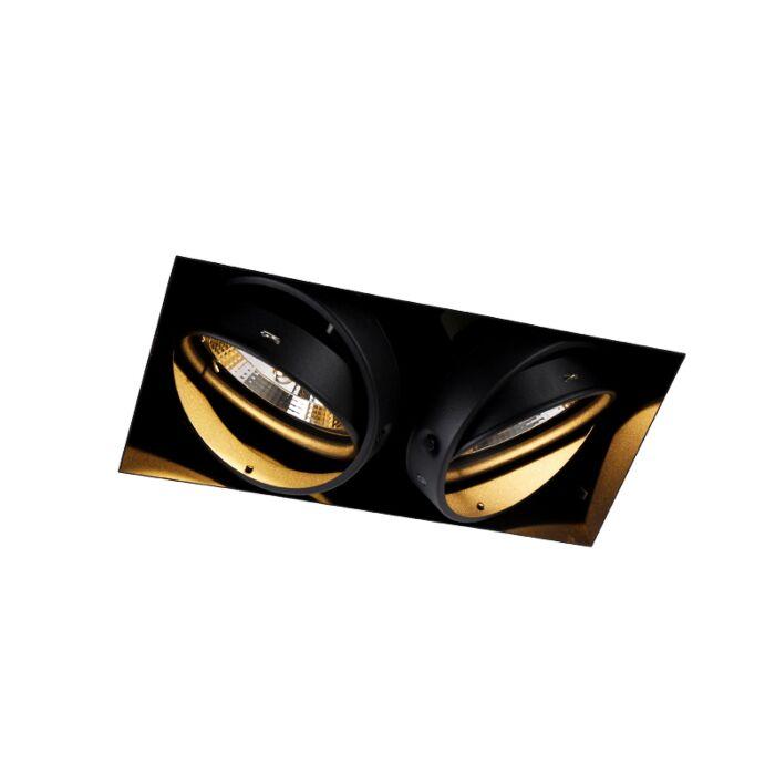 Foco-empotrable-negro-2-luces-GU10-AR111-sin-marco---ONEON-Trimless