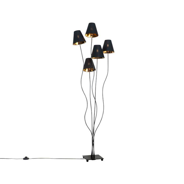 Lámpara-de-pie-diseño-negro-dorado-5-luces---MELIS