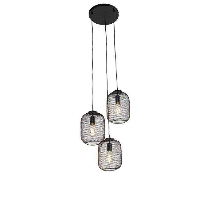Lámpara-colgante-industrial-negra-45cm-3-luces---BLISS-Mesh