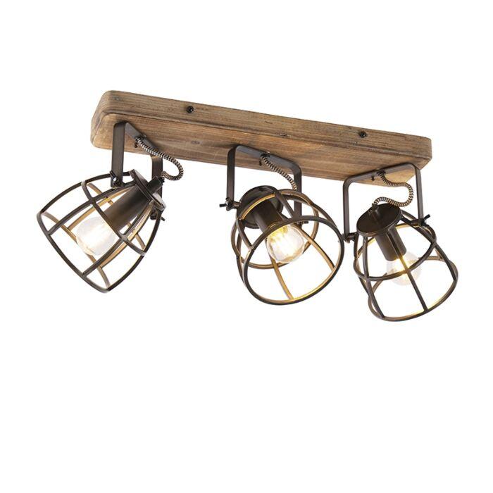 Plafón-industrial-negro-madera-orientable-3-luces---ARTHUR