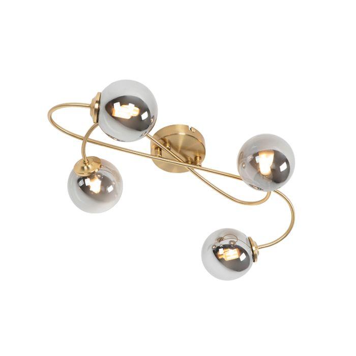 Lámpara-de-techo-moderna-dorada-cristal-ahumado-4-luces---ATHENS-