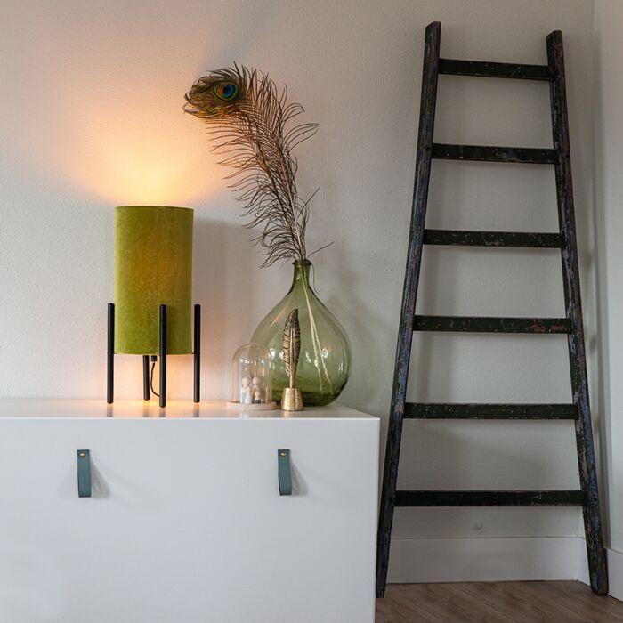 Lámpara-de-mesa-diseño-negro-pantalla-terciopelo-verde/oro---RICH