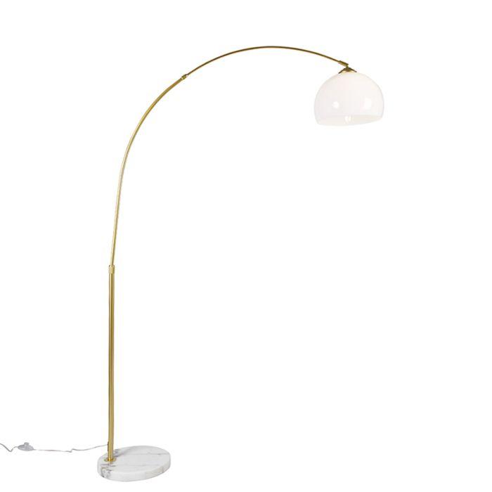 Moderne-booglamp-messing-met-witte-kap---Arc-Basic