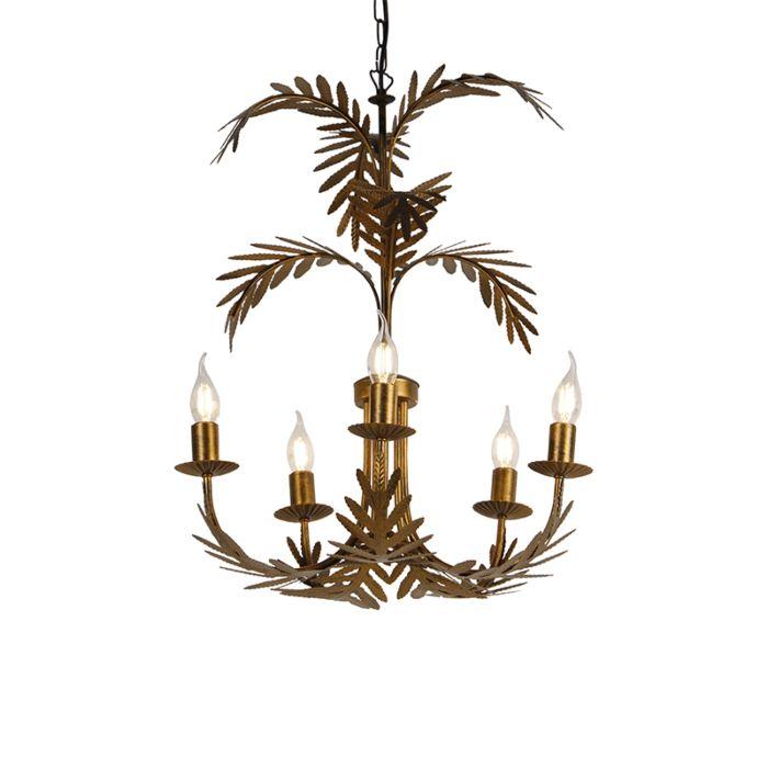 Lámpara-de-araña-vintage-dorado-5-luces---BOTANICA