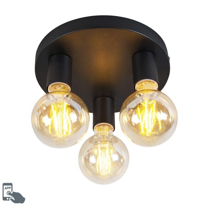 Plafón-moderno-negro-3-bombillas-WiFi-G95---FACIL