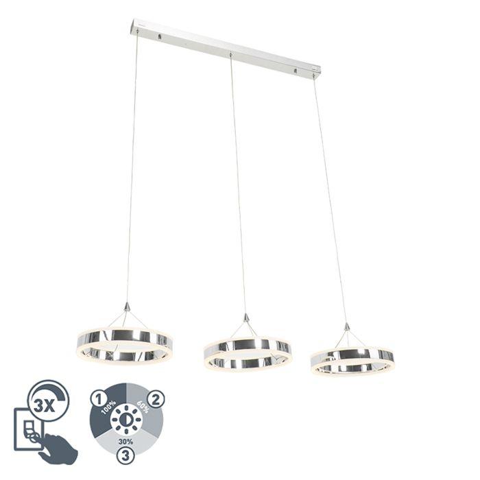 Moderne-hanglamp-chroom-3-lichts-incl.-LED-3-staps-dimbaar---Lyani