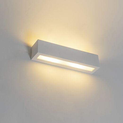 Moderne-langwerpige-wandlamp-gips-2-lichts---Tjada-Novo
