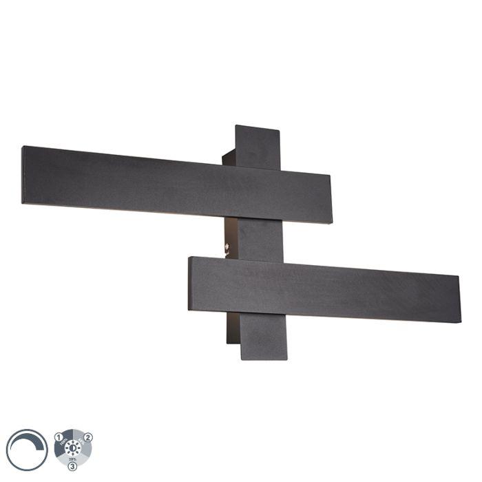 Aplique-moderno-negro-LED-regulable-3-estados-2-luces---LISA
