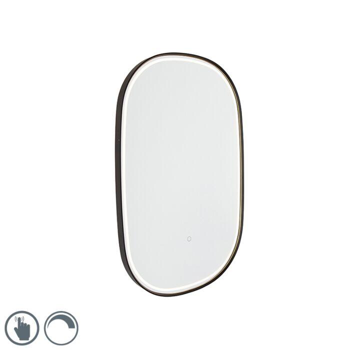 Espejo-de-baño-negro-LED-atenuador-táctil-ovalado---MIRAL