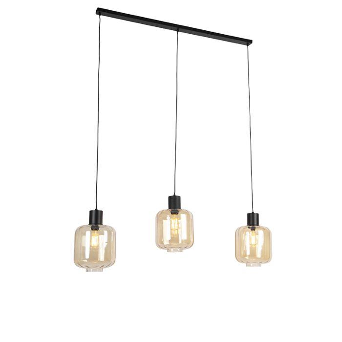 Lámpara-colgante-diseño-negra-cristal-ámbar-161,5cm-3-luces---QARA