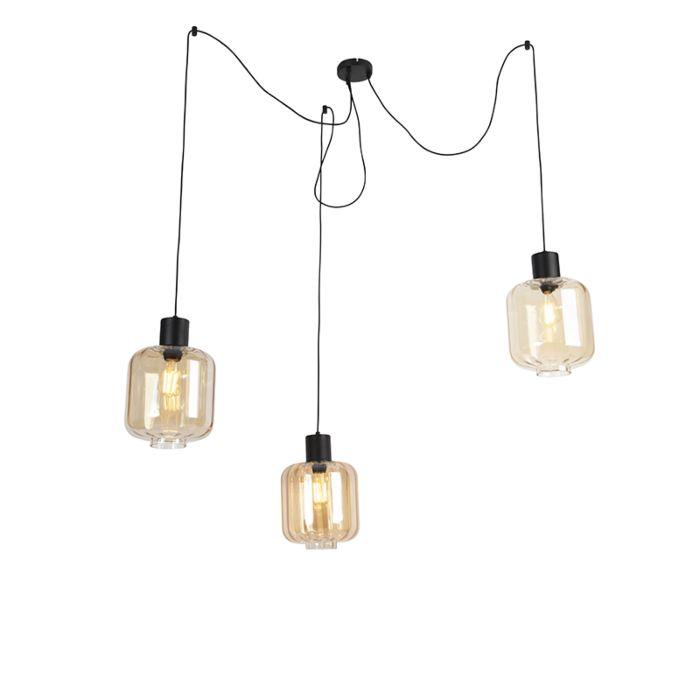 Lámpara-colgante-diseño-negra-cristal-ámbar-226cm-3-luces---QARA