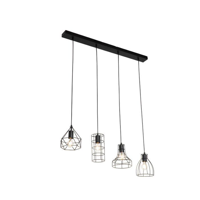 Lámpara-colgante-industrial-negra-4-luces---ESVA