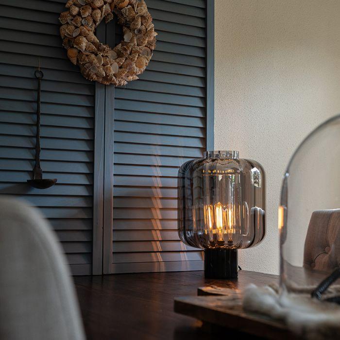 Lámpara-de-mesa-diseño-negra-cristal-ahumado---QARA