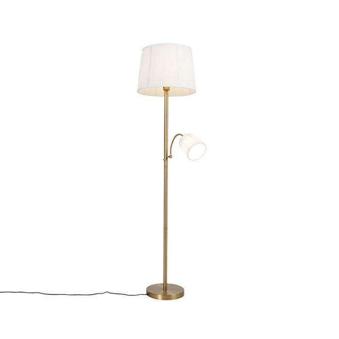 Klassieke-vloerlamp-brons-met-witte-kap-en-leeslampje---Retro