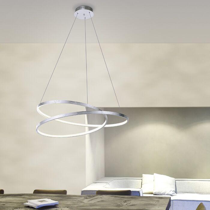 Lámpara-colgante-diseño-plateada-72cm-LED-regulable---ROWAN