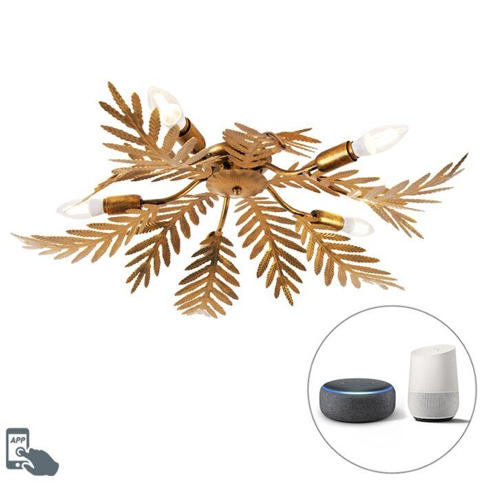 Plafón-vintage-dorado-5-bombillas-WiFi-E14---BOTANICA