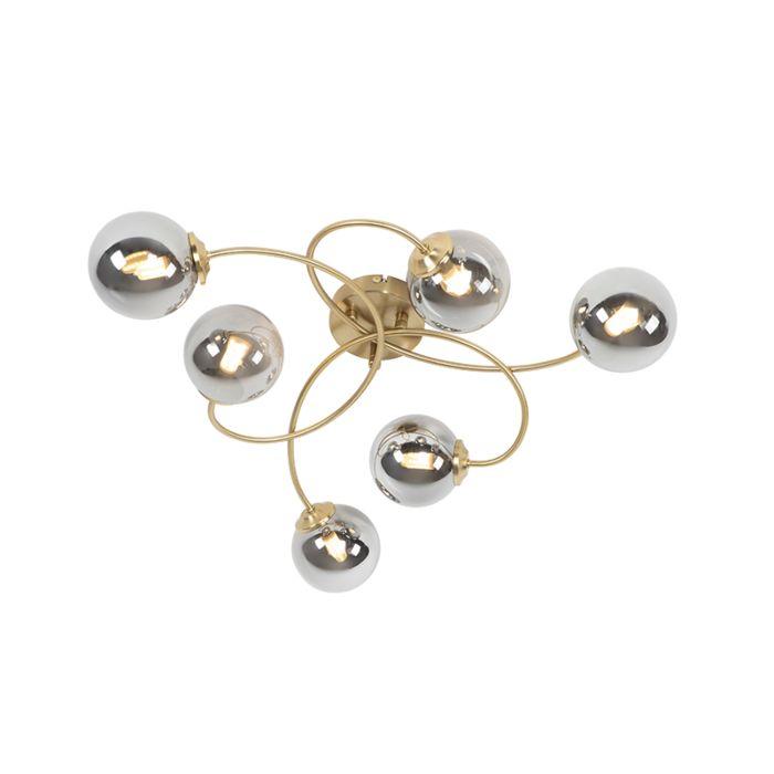 Lámpara-de-techo-moderna-dorada-cristal-ahumado-6-luces---ATHENS