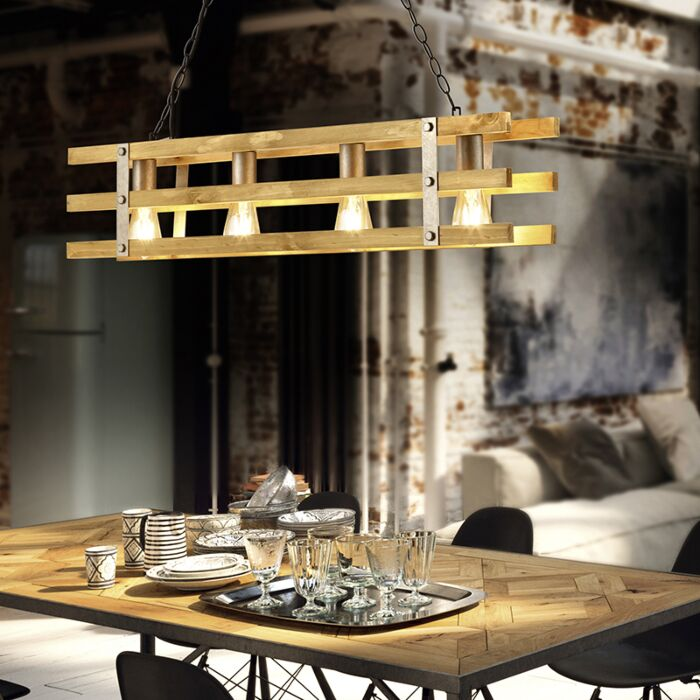 Lámpara-colgante-industrial-acero-madera-4-luces---PALETA
