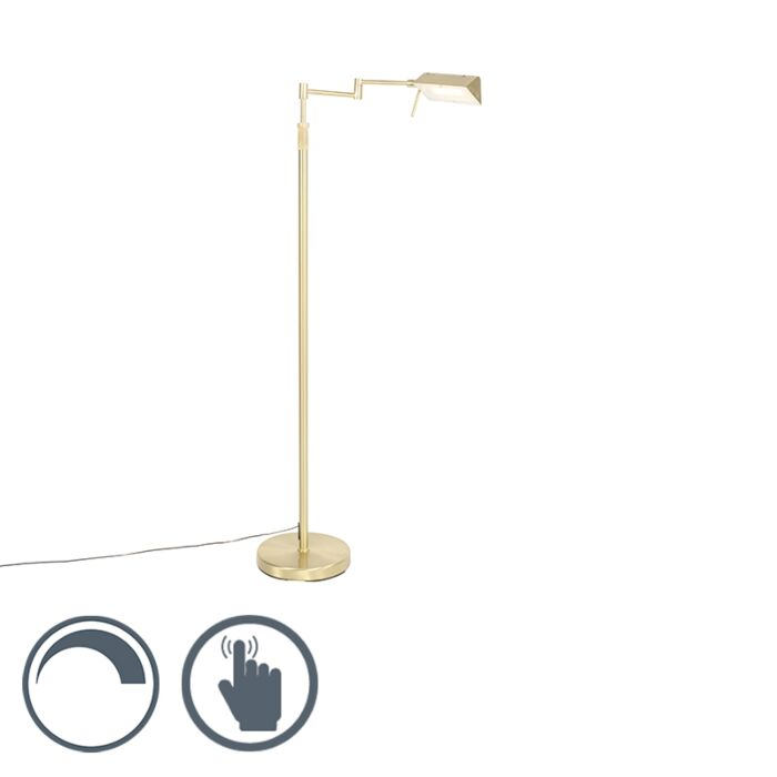 Lámpara-de-pie-latón-LED-regulable-táctil---NOTIA